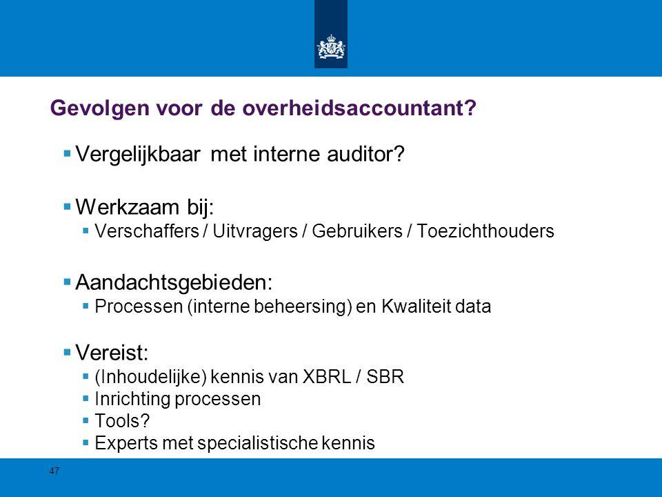Gevolgen voor de overheidsaccountant?  Vergelijkbaar met interne auditor?  Werkzaam bij:  Verschaffers / Uitvragers / Gebruikers / Toezichthouders
