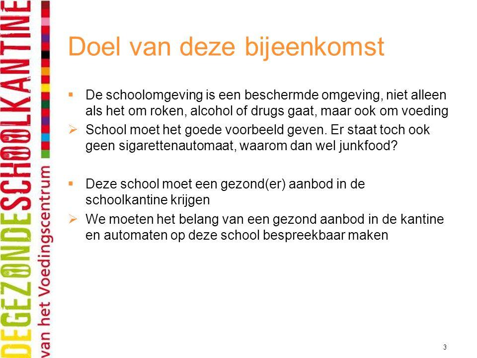 3 Doel van deze bijeenkomst  De schoolomgeving is een beschermde omgeving, niet alleen als het om roken, alcohol of drugs gaat, maar ook om voeding 