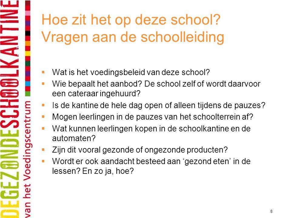 8 Hoe zit het op deze school? Vragen aan de schoolleiding  Wat is het voedingsbeleid van deze school?  Wie bepaalt het aanbod? De school zelf of wor