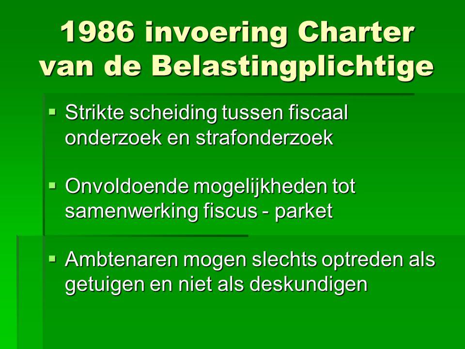 1986 invoering Charter van de Belastingplichtige  Strikte scheiding tussen fiscaal onderzoek en strafonderzoek  Onvoldoende mogelijkheden tot samenw