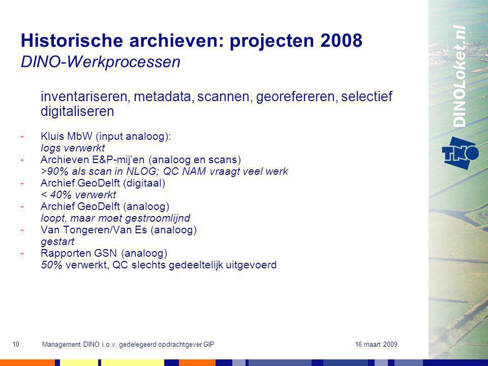 16 maart 2009Management DINO i.o.v. gedelegeerd opdrachtgever GIP10 Historische archieven: projecten 2008 DINO-Werkprocessen inventariseren, metadata,
