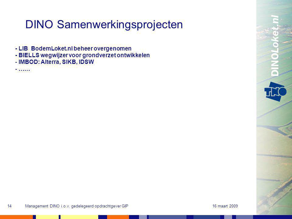 16 maart 2009Management DINO i.o.v. gedelegeerd opdrachtgever GIP14 DINO Samenwerkingsprojecten - LIB BodemLoket.nl beheer overgenomen - BIELLS wegwij