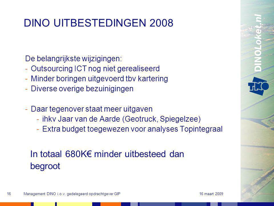 16 maart 2009Management DINO i.o.v. gedelegeerd opdrachtgever GIP16 DINO UITBESTEDINGEN 2008 De belangrijkste wijzigingen: -Outsourcing ICT nog niet g