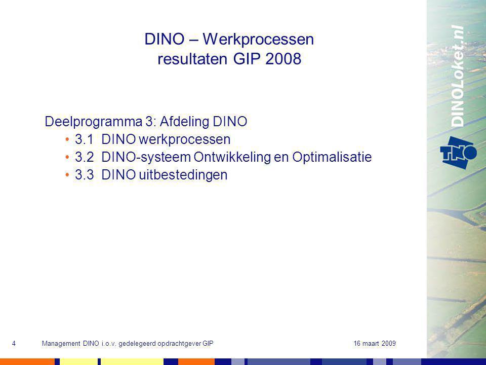 16 maart 2009Management DINO i.o.v. gedelegeerd opdrachtgever GIP4 DINO – Werkprocessen resultaten GIP 2008 Deelprogramma 3: Afdeling DINO 3.1 DINO we