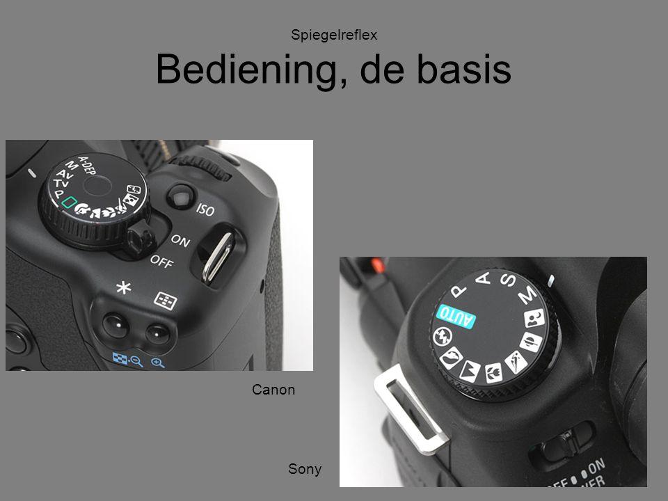 Spiegelreflex Bediening, de basis Sony Olympus Canon