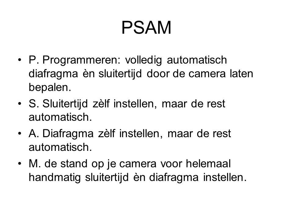 PSAM P. Programmeren: volledig automatisch diafragma èn sluitertijd door de camera laten bepalen. S. Sluitertijd zèlf instellen, maar de rest automati