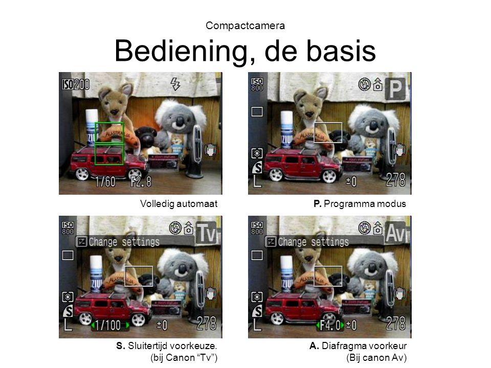 """Compactcamera Bediening, de basis Volledig automaat S. Sluitertijd voorkeuze. (bij Canon """"Tv"""") P. Programma modus A. Diafragma voorkeur (Bij canon Av)"""