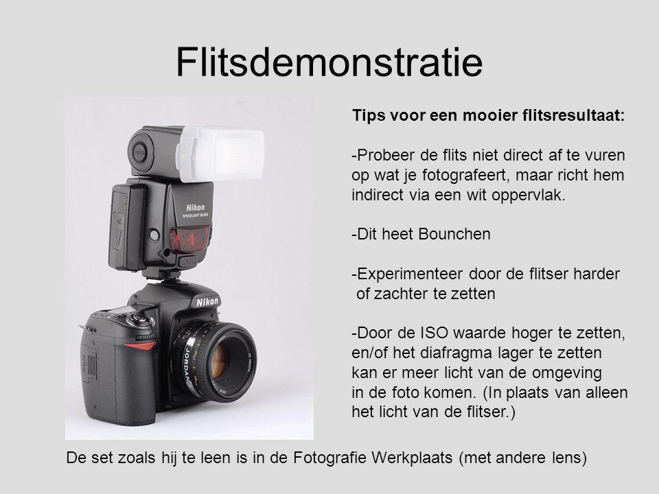 Flitsdemonstratie De set zoals hij te leen is in de Fotografie Werkplaats (met andere lens) Tips voor een mooier flitsresultaat: -Probeer de flits nie