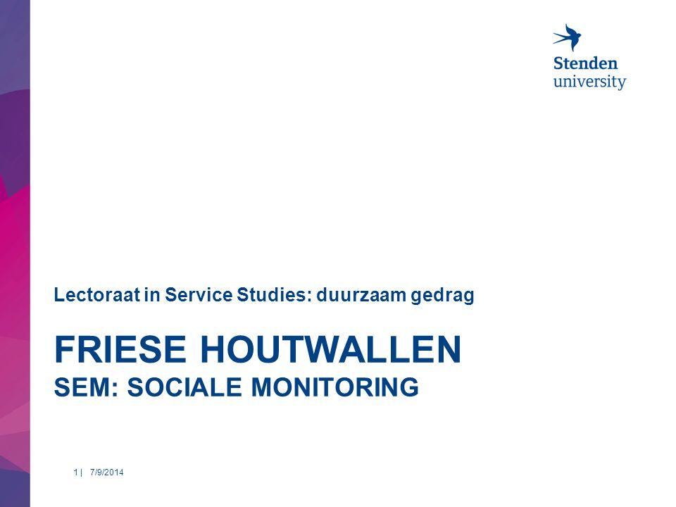 FRIESE HOUTWALLEN SEM: SOCIALE MONITORING Lectoraat in Service Studies: duurzaam gedrag 7/9/20141 |