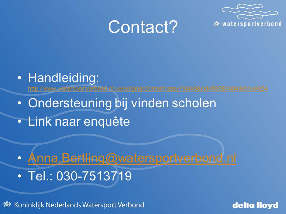 Contact? Handleiding: http://www.watersportverbond.nl/vereniging/Content.aspx?sid=9&cid=590&mid=&mnu=924 http://www.watersportverbond.nl/vereniging/Co