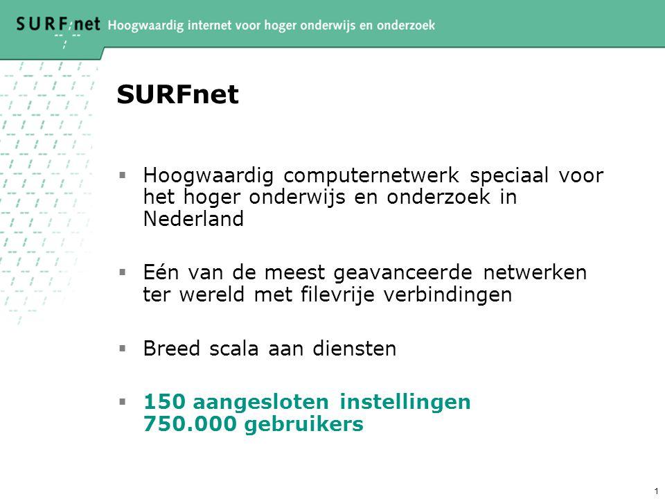 1 SURFnet  Hoogwaardig computernetwerk speciaal voor het hoger onderwijs en onderzoek in Nederland  Eén van de meest geavanceerde netwerken ter wereld met filevrije verbindingen  Breed scala aan diensten  150 aangesloten instellingen 750.000 gebruikers