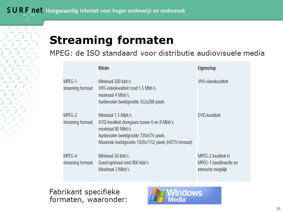 10 Streaming formaten Fabrikant specifieke formaten, waaronder: MPEG: de ISO standaard voor distributie audiovisuele media