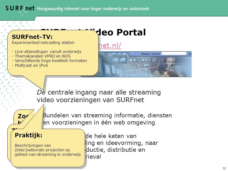 12 SURFnet Video Portal http://video.surfnet.nl/ Zoek- en bladerfuncties: - in de SURFnet videotheek - door collecties - simpel en uitgebreid Zoek- en bladerfuncties: - in de SURFnet videotheek - door collecties - simpel en uitgebreid Tips en Tools: - informatie - instructies - handleidingen Tips en Tools: - informatie - instructies - handleidingen Webstroom Community: Streaming deskundigen uit het onderwijs wisselen ervaringen uit.