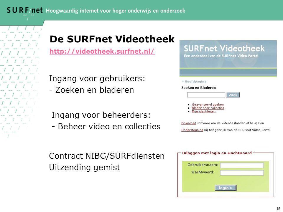 15 De SURFnet Videotheek http://videotheek.surfnet.nl/ http://videotheek.surfnet.nl/ Ingang voor gebruikers: - Zoeken en bladeren Ingang voor beheerders: - Beheer video en collecties Contract NIBG/SURFdiensten Uitzending gemist