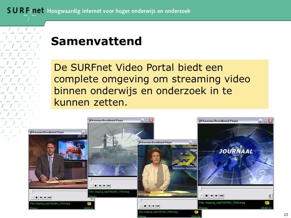 25 Samenvattend De SURFnet Video Portal biedt een complete omgeving om streaming video binnen onderwijs en onderzoek in te kunnen zetten.