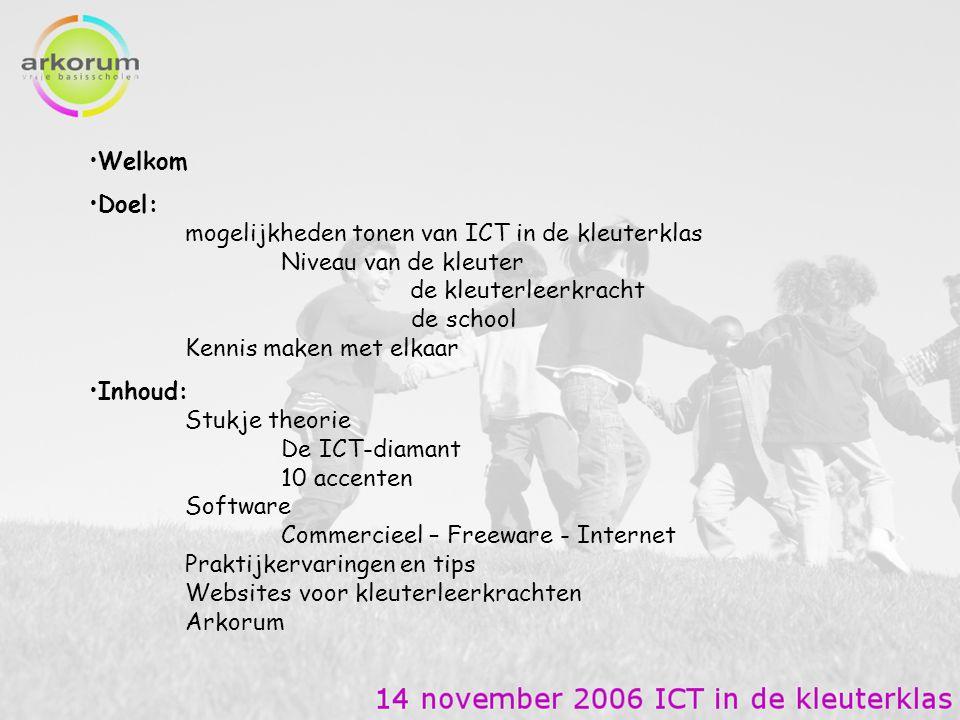 Welkom Doel: mogelijkheden tonen van ICT in de kleuterklas Niveau van de kleuter de kleuterleerkracht de school Kennis maken met elkaar Inhoud: Stukje