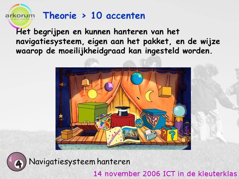 Theorie > 10 accenten Navigatiesysteem hanteren Het begrijpen en kunnen hanteren van het navigatiesysteem, eigen aan het pakket, en de wijze waarop de