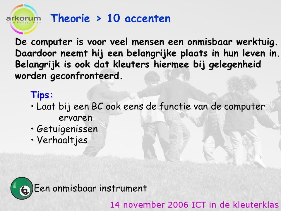Theorie > 10 accenten Een onmisbaar instrument Tips: Laat bij een BC ook eens de functie van de computer ervaren Getuigenissen Verhaaltjes De computer