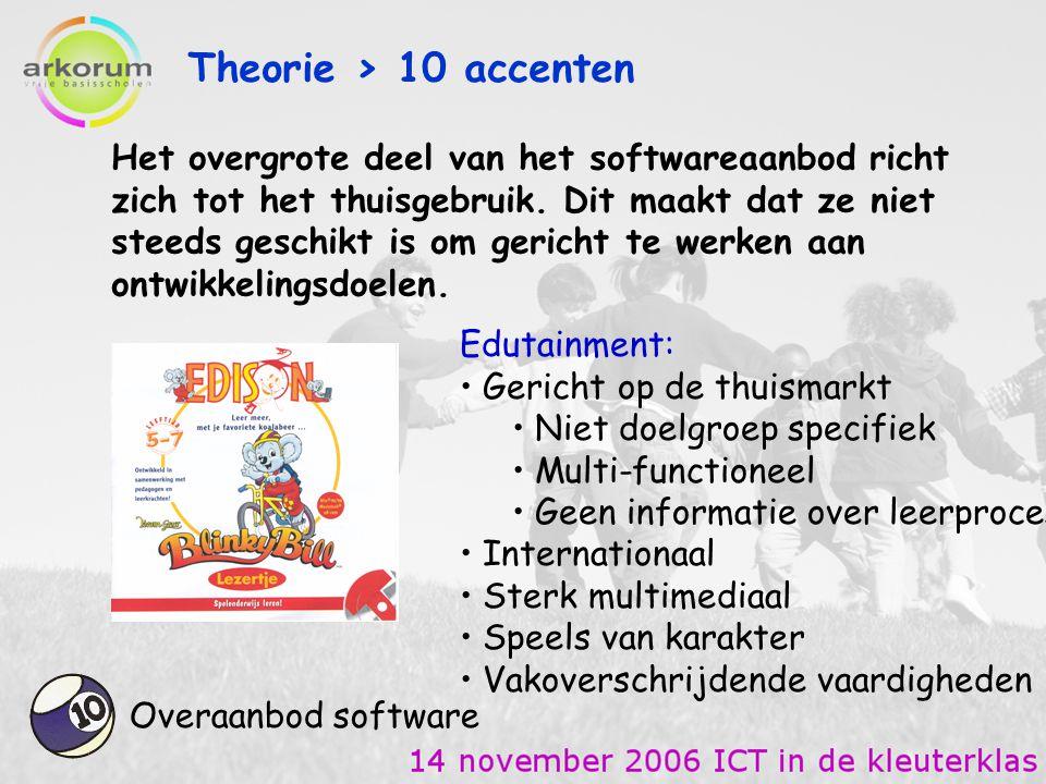 Theorie > 10 accenten Overaanbod software Het overgrote deel van het softwareaanbod richt zich tot het thuisgebruik. Dit maakt dat ze niet steeds gesc