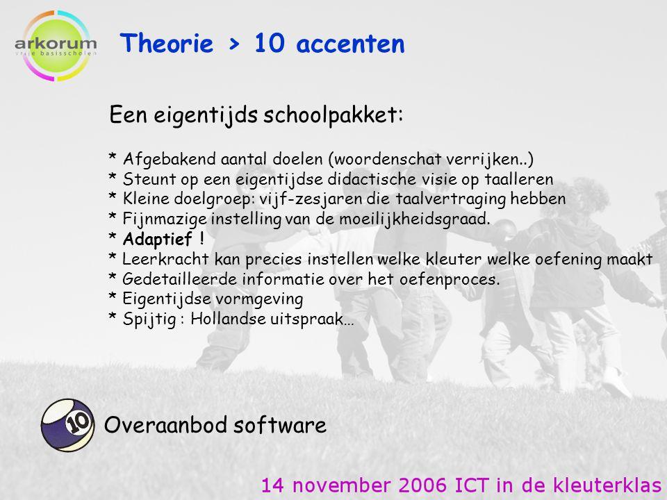 Theorie > 10 accenten Overaanbod software * Afgebakend aantal doelen (woordenschat verrijken..) * Steunt op een eigentijdse didactische visie op taall
