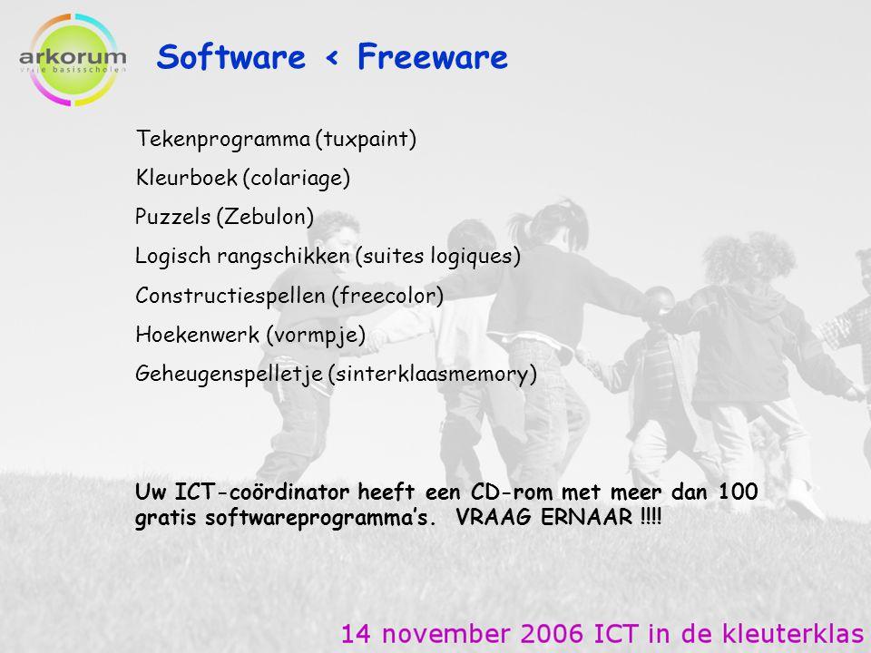 Software < Freeware Tekenprogramma (tuxpaint) Kleurboek (colariage) Puzzels (Zebulon) Logisch rangschikken (suites logiques) Constructiespellen (freec