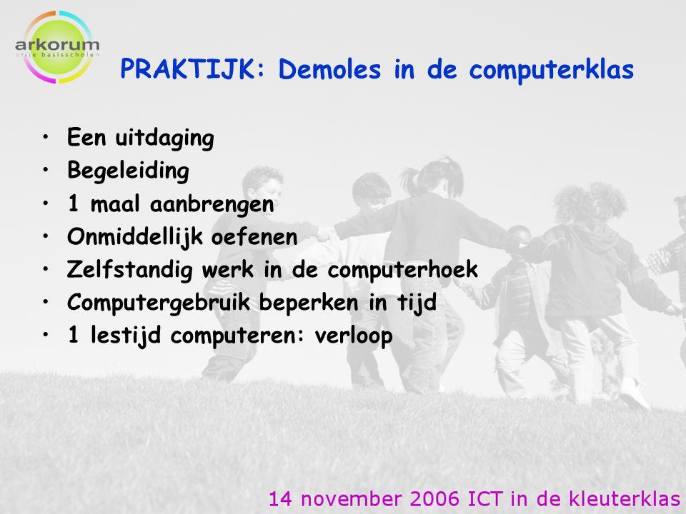 PRAKTIJK: Demoles in de computerklas Een uitdaging Begeleiding 1 maal aanbrengen Onmiddellijk oefenen Zelfstandig werk in de computerhoek Computergebr