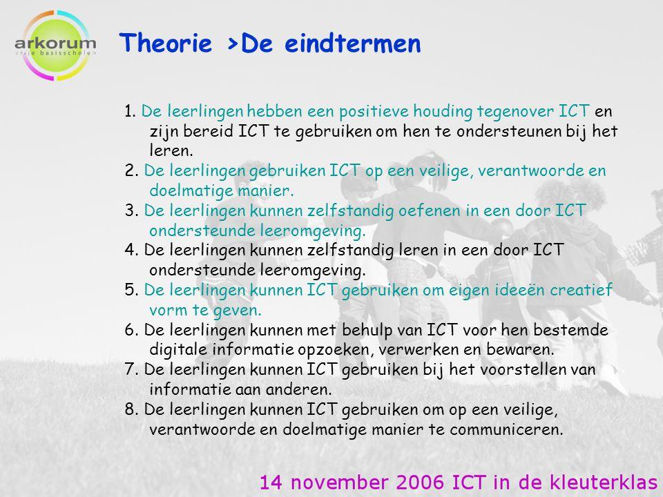 Software > online op het internet http://www.omroep.nl/zappelin/zappflat/index_content.html http://www.4kids2play.nl/ Vooral de klik en sleepoefeningen geef ik in het begin http://www.kleuterspel.be/kinderspel/menu.html http://www.schooltv.nl/schatkast/flash.html http://people.zeelandnet.nl/ribert/index.html Een dikke aanrader http://www.kennisnet.nl/po/kinderen/divers/peent/peent.swf een eenvoudig tekenprogramma voor kinderen.