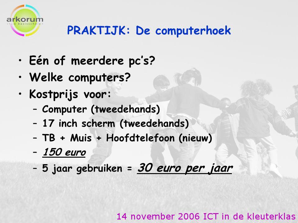 Eén of meerdere pc's? Welke computers? Kostprijs voor: –Computer (tweedehands) –17 inch scherm (tweedehands) –TB + Muis + Hoofdtelefoon (nieuw) –150 e