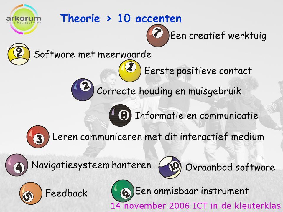Theorie > 10 accenten Eerste positieve contact Contact met de computer in de klas = eerste vorm van contact met het medium.