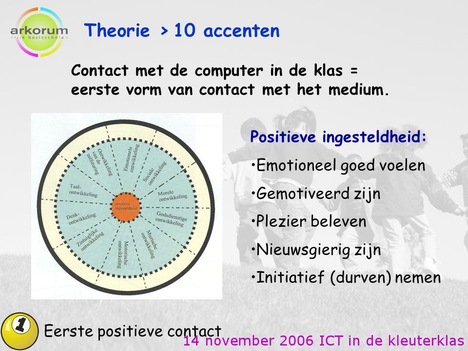 Theorie > 10 accenten Eerste positieve contact Contact met de computer in de klas = eerste vorm van contact met het medium. Positieve ingesteldheid: E