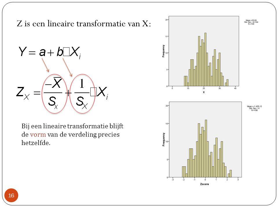 Z is een lineaire transformatie van X: 16 Bij een lineaire transformatie blijft de vorm van de verdeling precies hetzelfde.