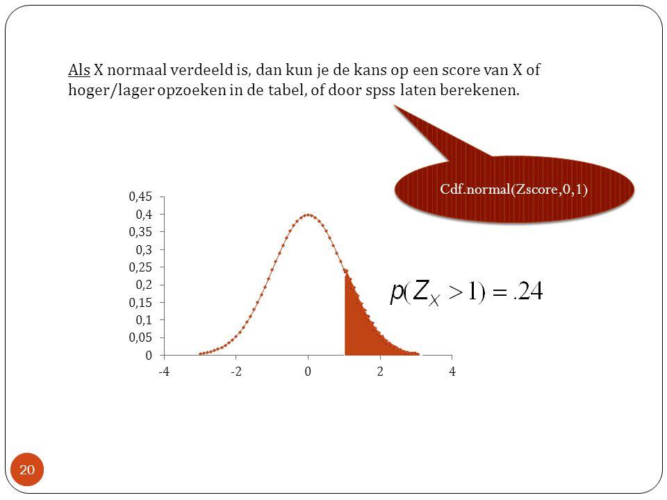 20 Als X normaal verdeeld is, dan kun je de kans op een score van X of hoger/lager opzoeken in de tabel, of door spss laten berekenen.