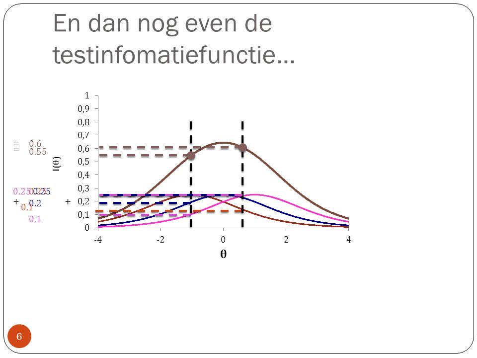 En dan nog even de testinfomatiefunctie… 6 0.1 0.2 0.25 0.55 + = 0.1 0.25 0.6 + =