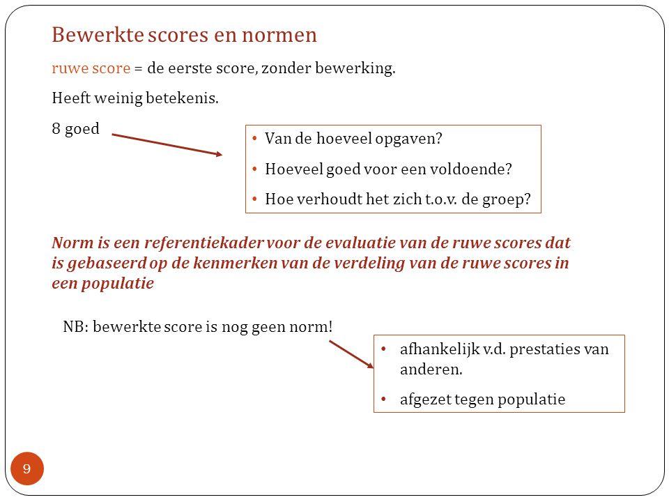 Bewerkte scores en normen ruwe score = de eerste score, zonder bewerking.