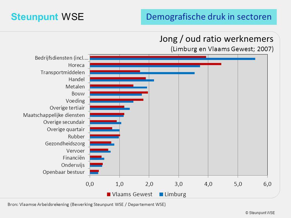 © Steunpunt WSE Steunpunt WSE Jong / oud ratio werknemers (Limburg en Vlaams Gewest; 2007) Bron: Vlaamse Arbeidsrekening (Bewerking Steunpunt WSE / Departement WSE) Demografische druk in sectoren