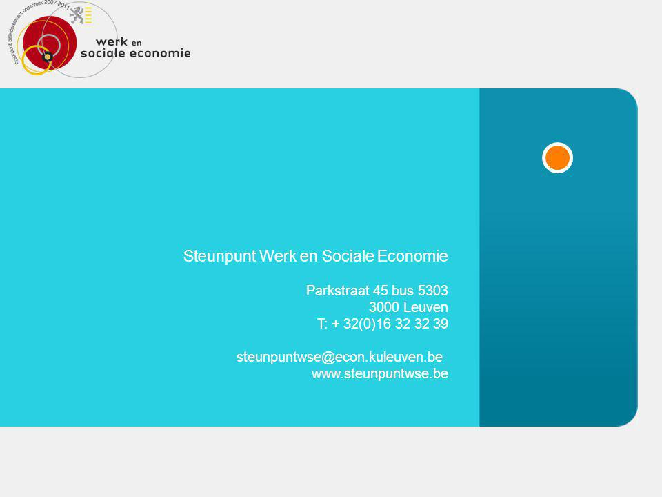 © Steunpunt WSE Steunpunt WSE Steunpunt Werk en Sociale Economie Parkstraat 45 bus 5303 3000 Leuven T: + 32(0)16 32 32 39 steunpuntwse@econ.kuleuven.be www.steunpuntwse.be