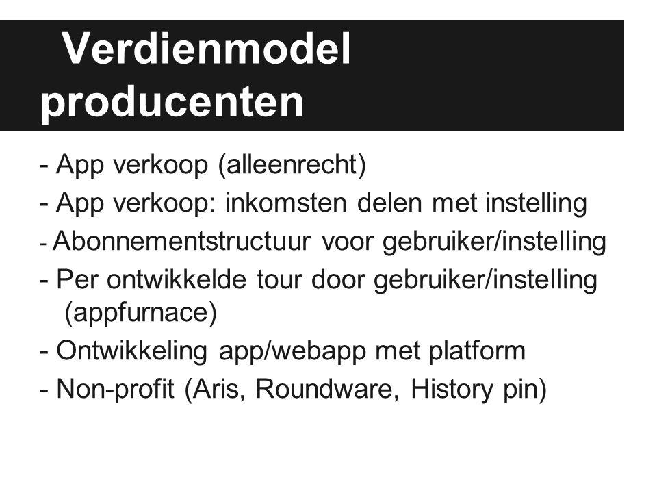 Verdienmodel producenten - App verkoop (alleenrecht) - App verkoop: inkomsten delen met instelling - Abonnementstructuur voor gebruiker/instelling - P