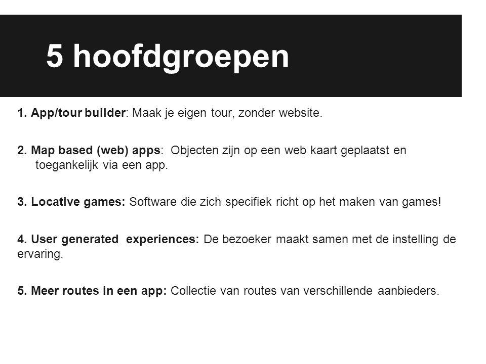 5 hoofdgroepen 1. App/tour builder: Maak je eigen tour, zonder website. 2. Map based (web) apps: Objecten zijn op een web kaart geplaatst en toegankel