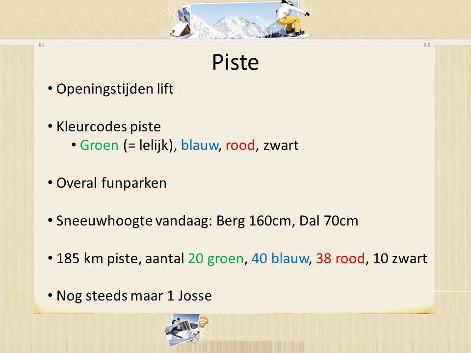 • Openingstijden lift • Kleurcodes piste • Groen (= lelijk), blauw, rood, zwart • Overal funparken • Sneeuwhoogte vandaag: Berg 160cm, Dal 70cm • 185