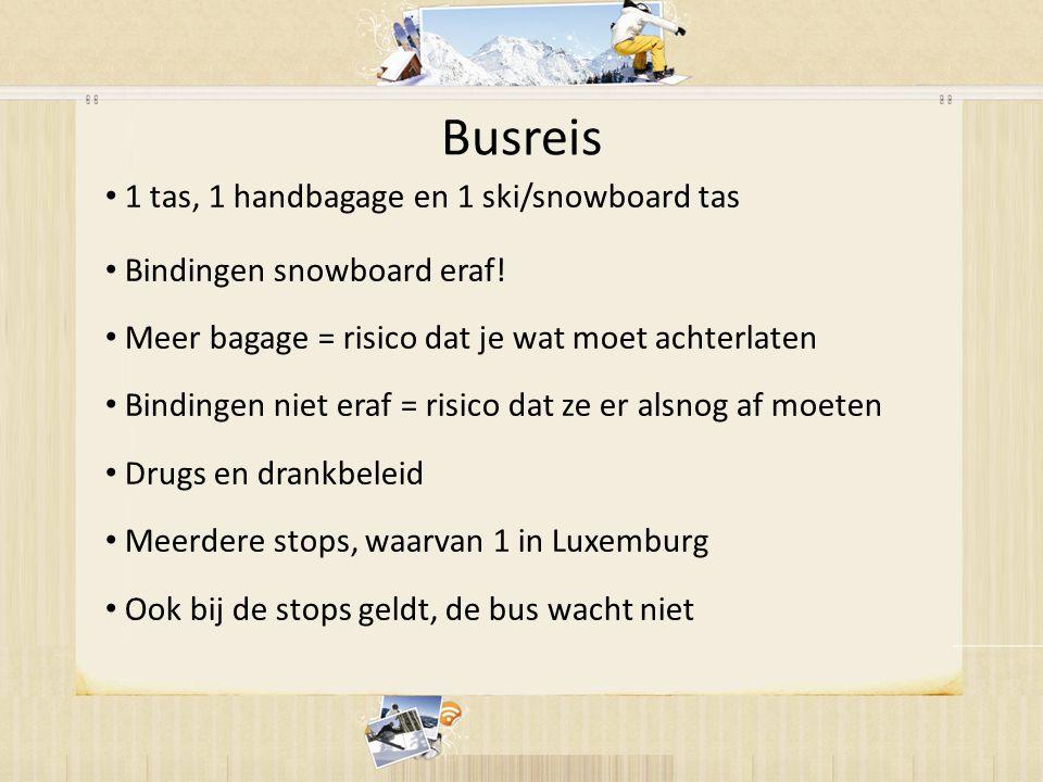 Busreis • 1 tas, 1 handbagage en 1 ski/snowboard tas • Bindingen snowboard eraf.