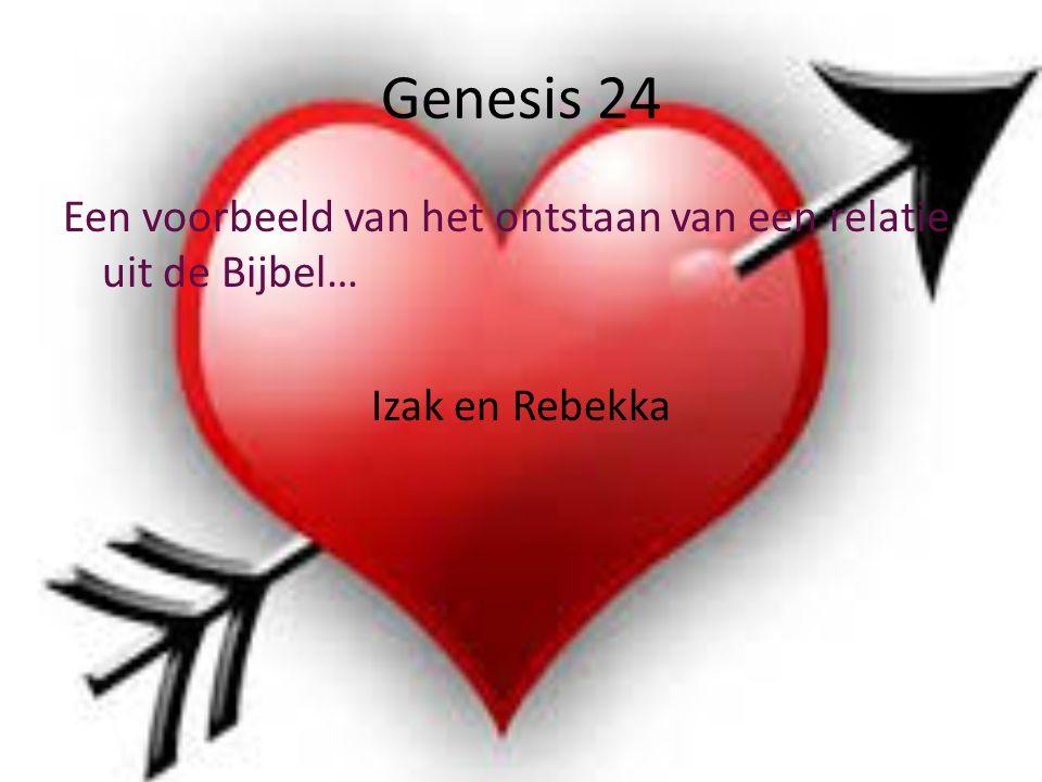 Genesis 24 Een voorbeeld van het ontstaan van een relatie uit de Bijbel… Izak en Rebekka