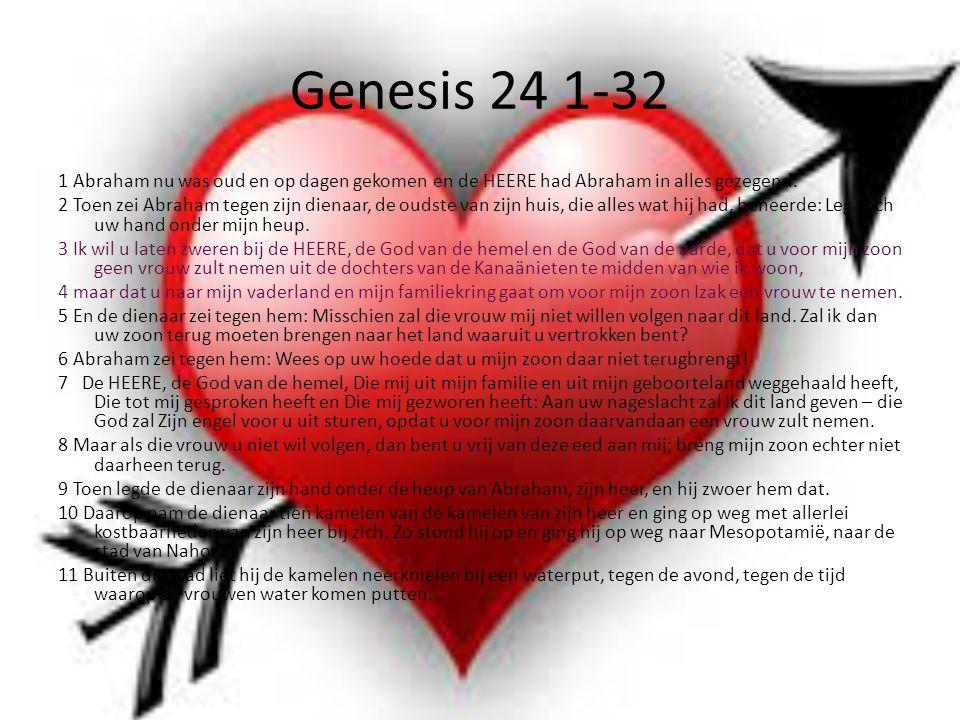 Genesis 24 1-32 1 Abraham nu was oud en op dagen gekomen en de HEERE had Abraham in alles gezegend.