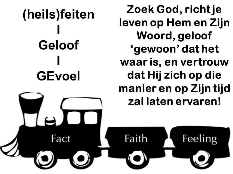 (heils)feiten I Geloof I GEvoel Zoek God, richt je leven op Hem en Zijn Woord, geloof 'gewoon' dat het waar is, en vertrouw dat Hij zich op die manier en op Zijn tijd zal laten ervaren!