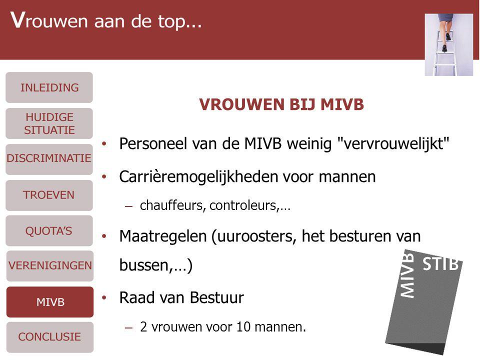VROUWEN BIJ MIVB • Personeel van de MIVB weinig vervrouwelijkt • Carrièremogelijkheden voor mannen – chauffeurs, controleurs,… • Maatregelen (uuroosters, het besturen van bussen,…) • Raad van Bestuur – 2 vrouwen voor 10 mannen.
