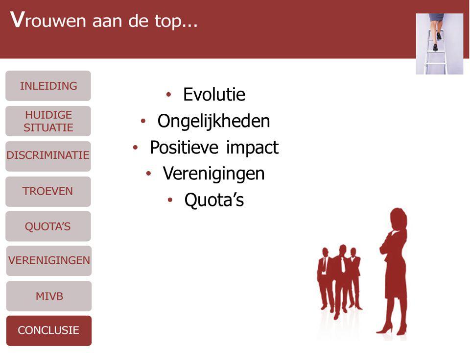 • Evolutie • Ongelijkheden • Positieve impact • Verenigingen • Quota's