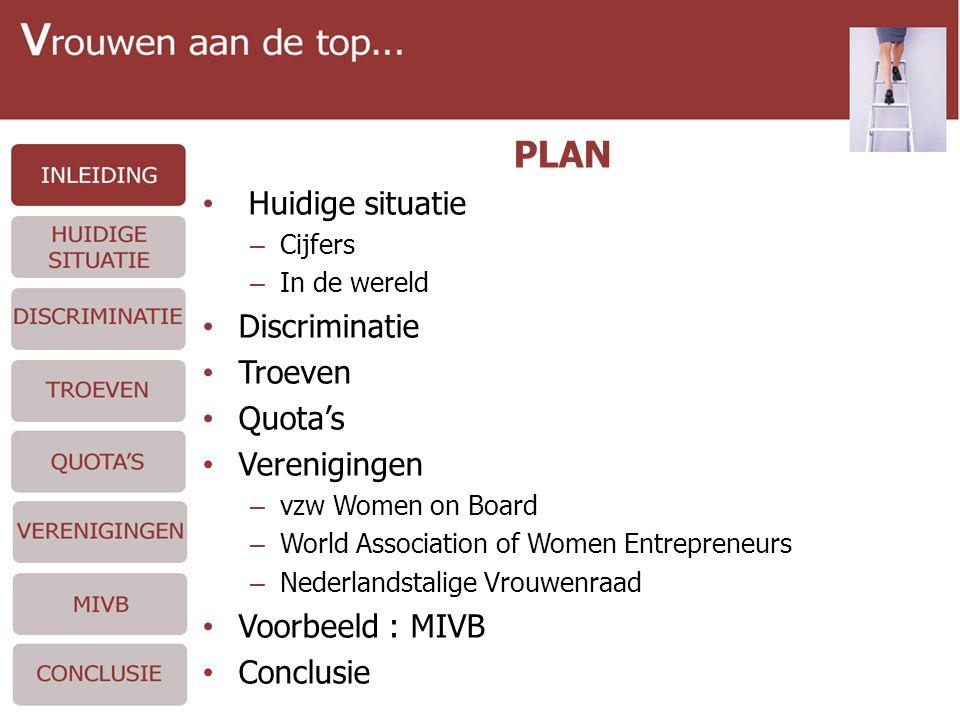 PLAN • Huidige situatie – Cijfers – In de wereld • Discriminatie • Troeven • Quota's • Verenigingen – vzw Women on Board – World Association of Women