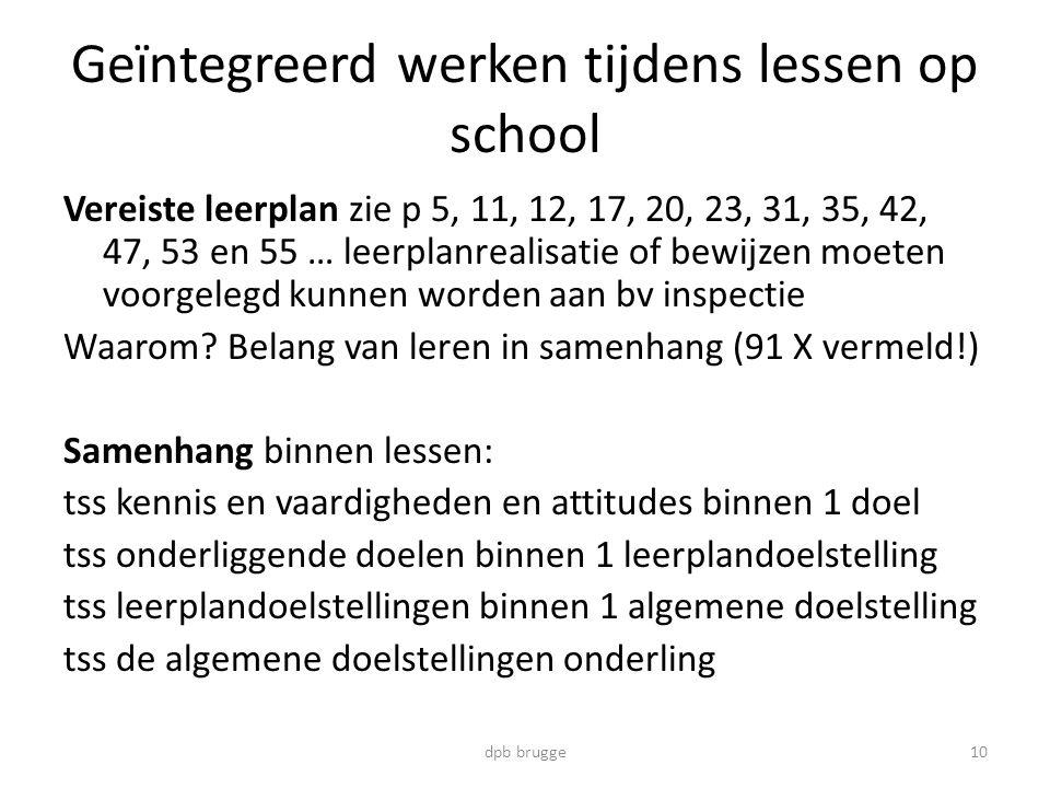 Geïntegreerd werken tijdens lessen op school Vereiste leerplan zie p 5, 11, 12, 17, 20, 23, 31, 35, 42, 47, 53 en 55 … leerplanrealisatie of bewijzen moeten voorgelegd kunnen worden aan bv inspectie Waarom.