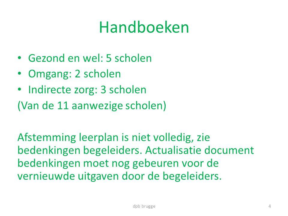 Handboeken • Gezond en wel: 5 scholen • Omgang: 2 scholen • Indirecte zorg: 3 scholen (Van de 11 aanwezige scholen) Afstemming leerplan is niet volledig, zie bedenkingen begeleiders.