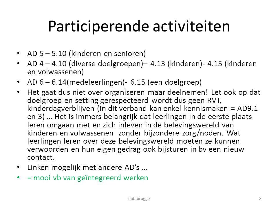 Participerende activiteiten • AD 5 – 5.10 (kinderen en senioren) • AD 4 – 4.10 (diverse doelgroepen)– 4.13 (kinderen)- 4.15 (kinderen en volwassenen) • AD 6 – 6.14(medeleerlingen)- 6.15 (een doelgroep) • Het gaat dus niet over organiseren maar deelnemen.