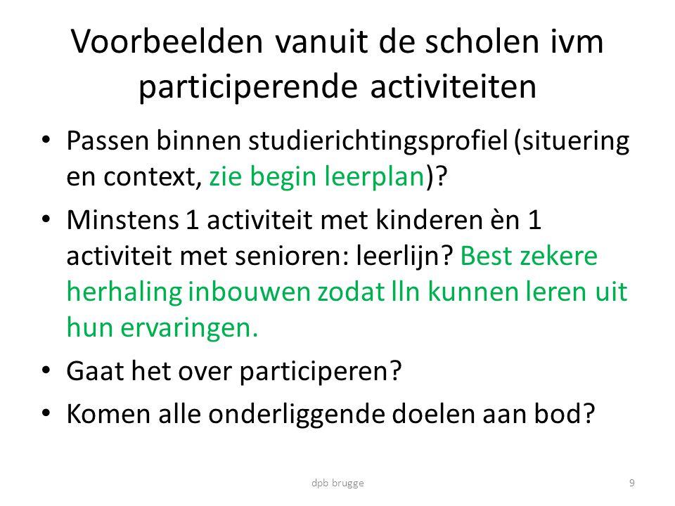 Voorbeelden vanuit de scholen ivm participerende activiteiten • Passen binnen studierichtingsprofiel (situering en context, zie begin leerplan).